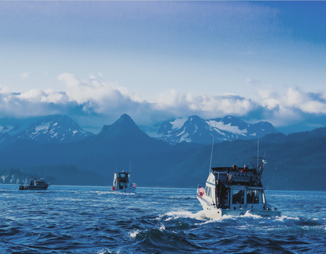 Sustainable Alasking Salmon fishing boats on blue water, with mountains in the back.
